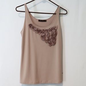 The Limited creamy brown chiffon floral tank large